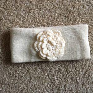 Cream flower warm headband